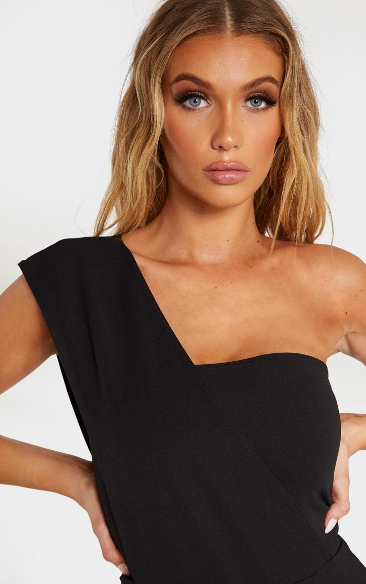 Tall Black One Shoulder Short Sleeve Bodysuit 4