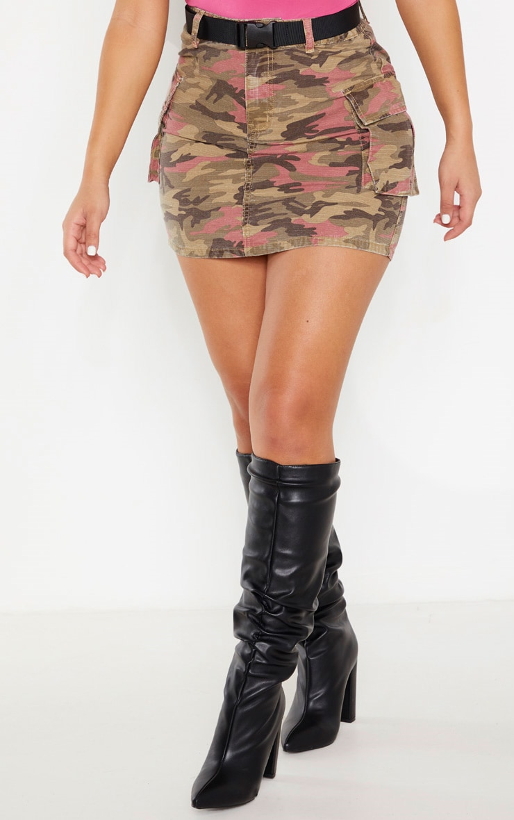 Camo Belted Denim Skirt 2