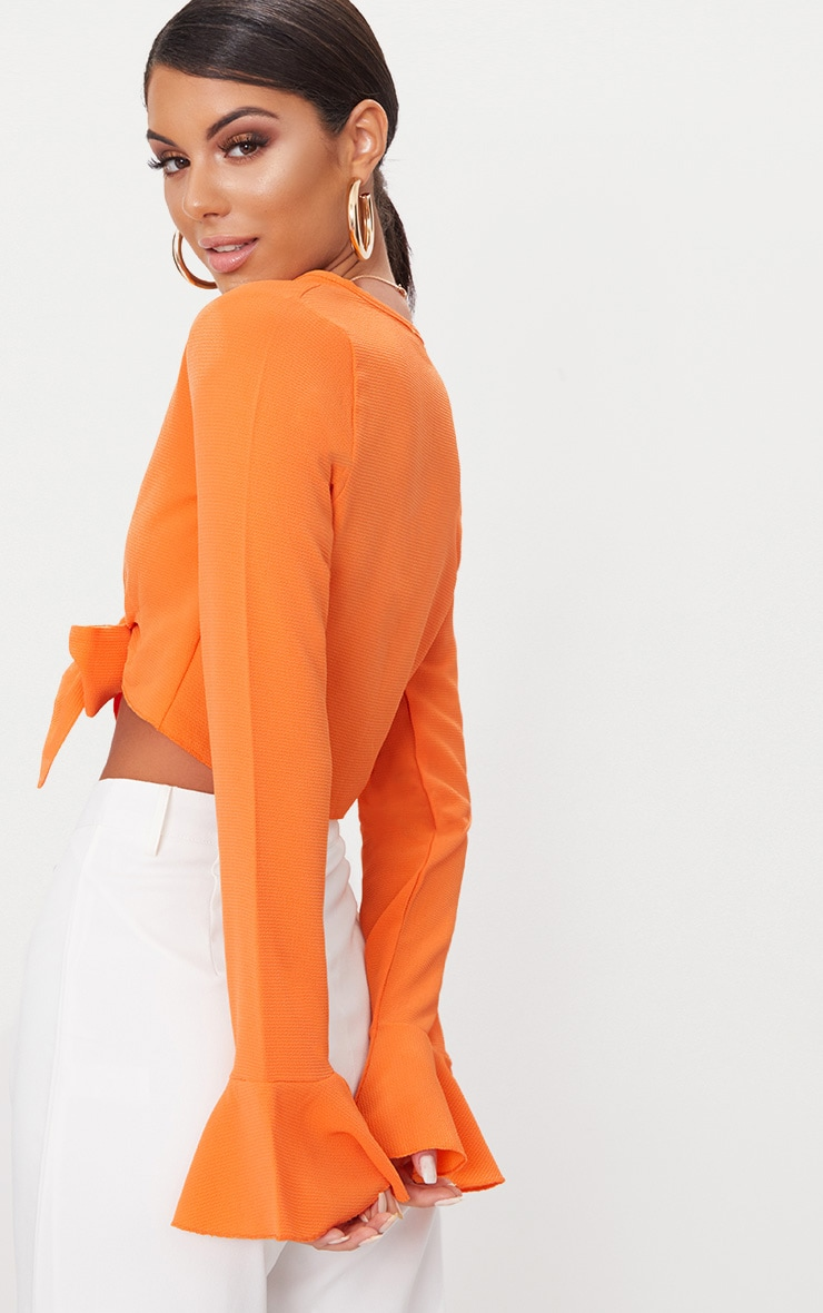 Tangerine Tie Front Frill Sleeve Blouse  2