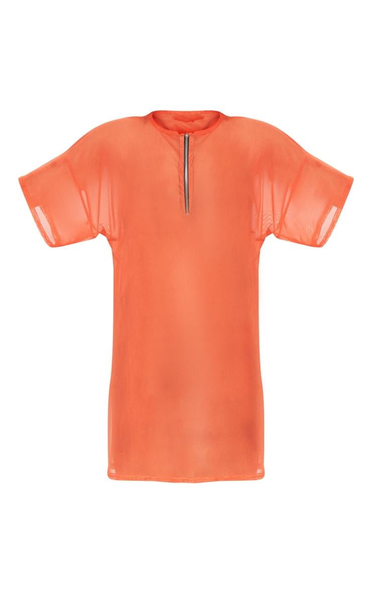 Bright Orange Mesh Zip Front T Shirt Dress 3