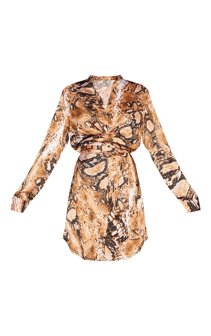 Orange Snake Print Tie Waist Collarless Shirt Dress 3