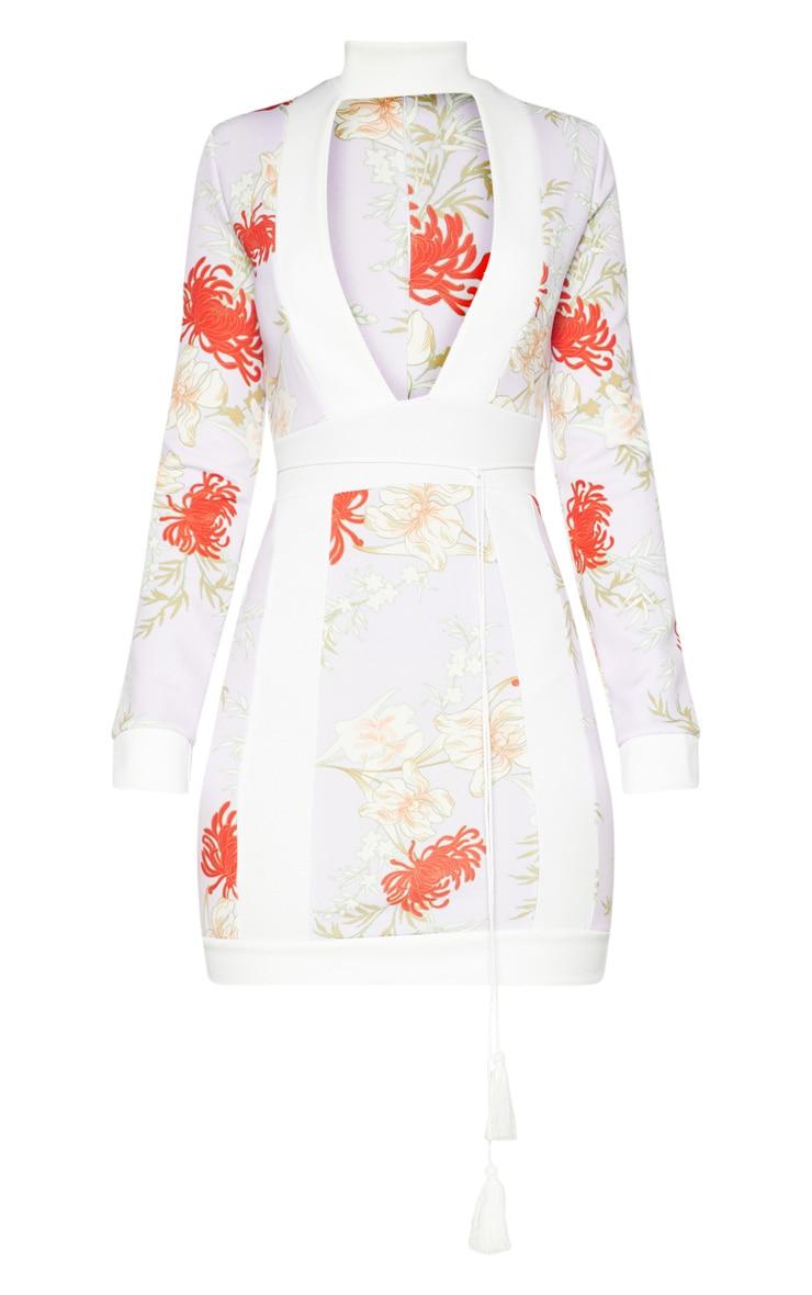 Lilac Oriental Contrast High Neck  Bodycon Dress  3