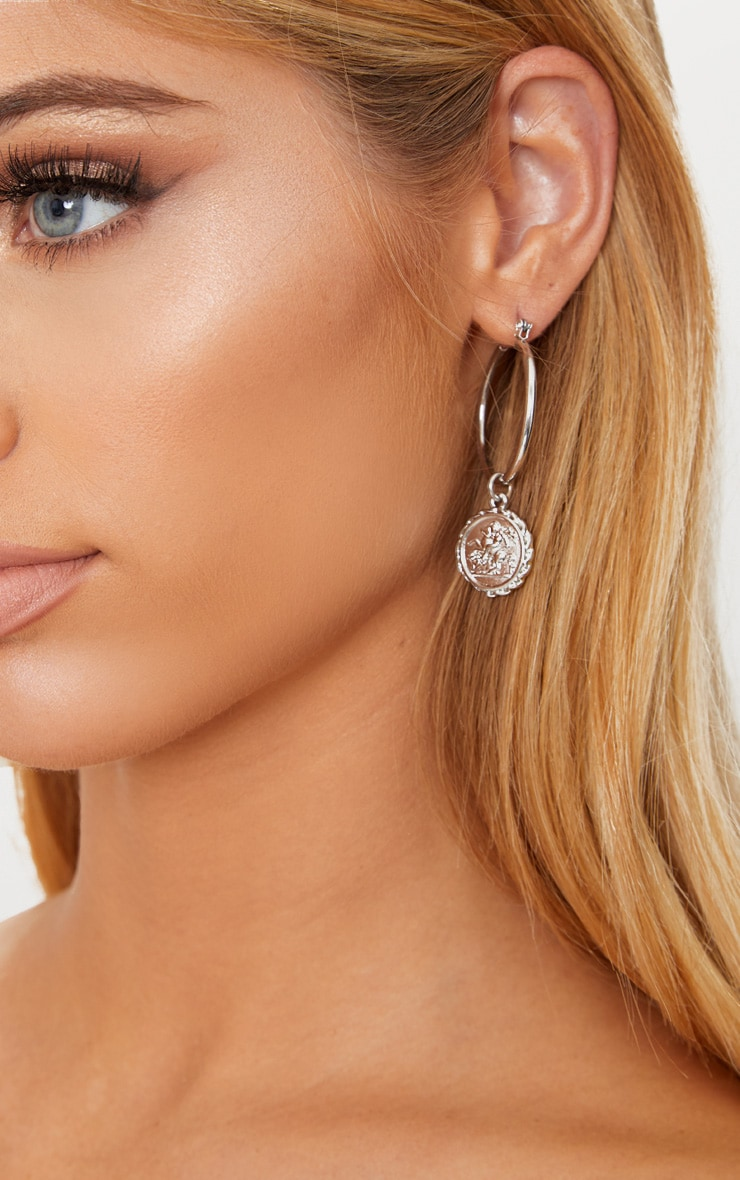 Silver Coin Drop Hoop Earrings 2