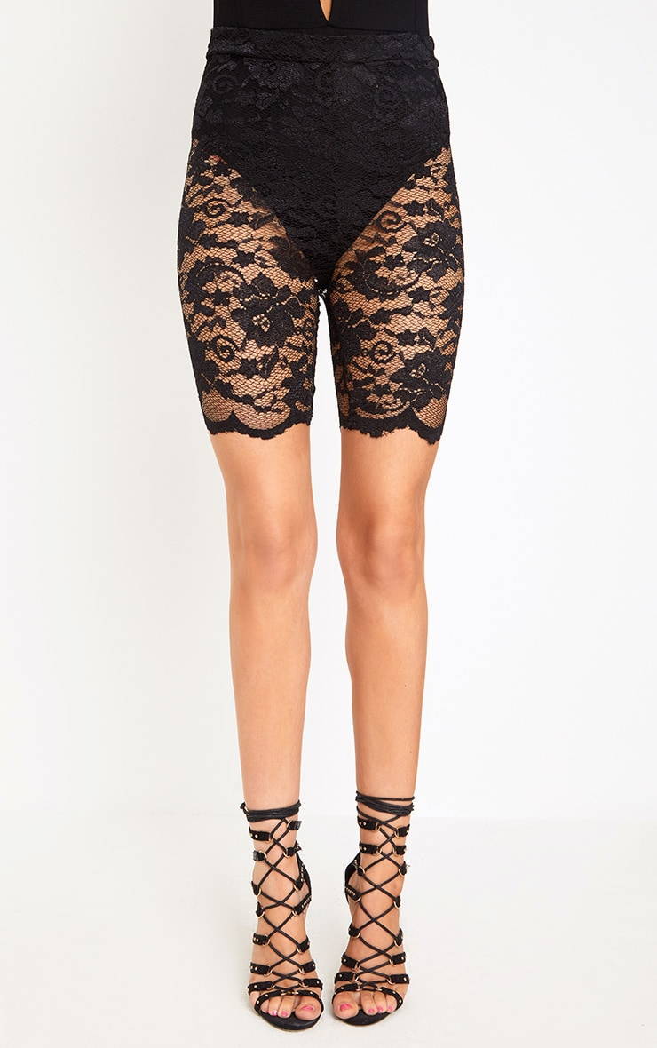 Black Scallop Lace Cycle Shorts 2