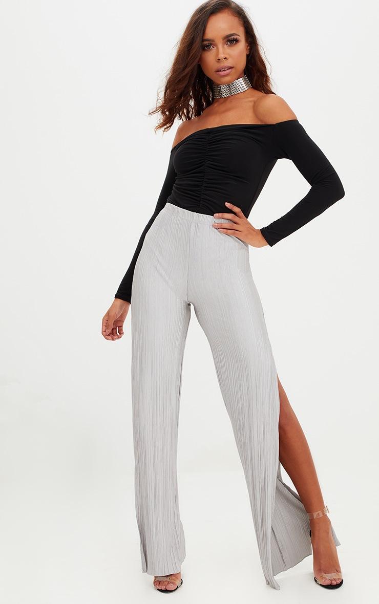 Petite Black Bardot Ruched Long Sleeve Bodysuit 3