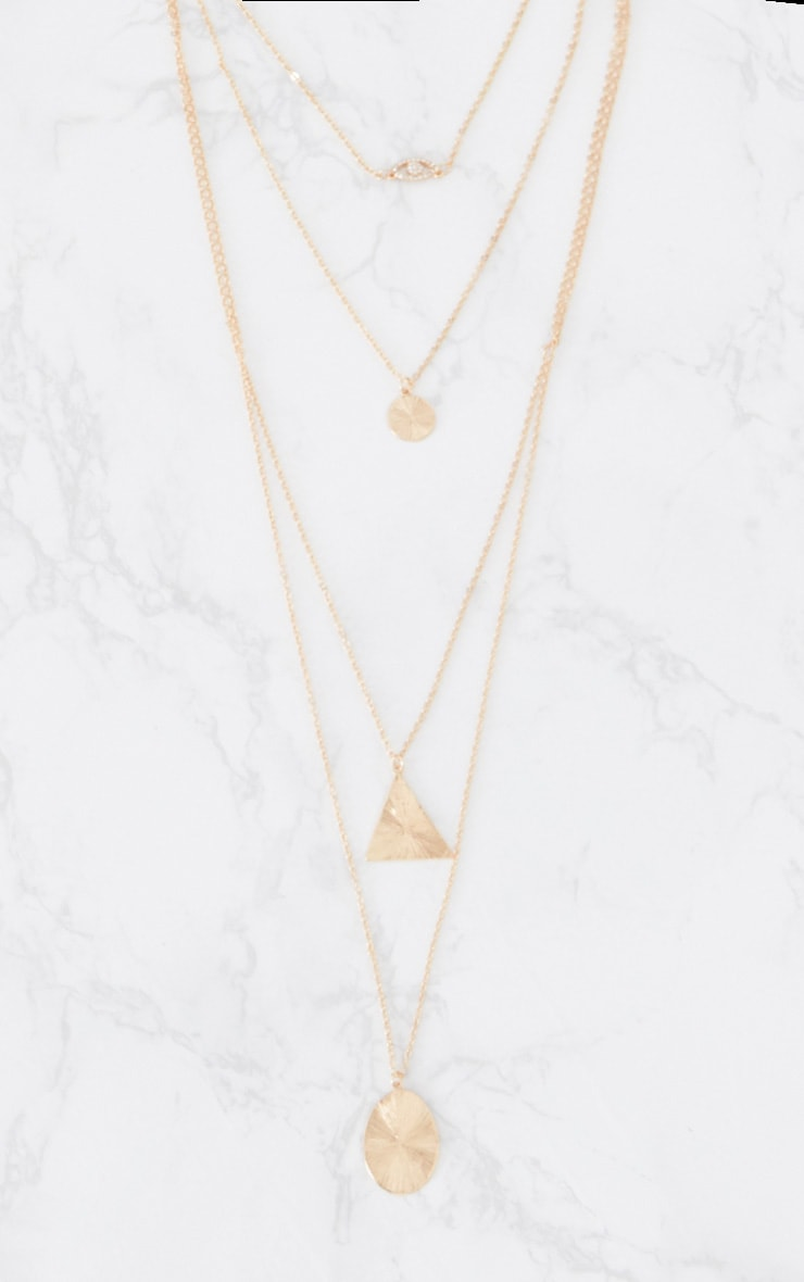 Gold Diamante Textured Pendant Layered Necklace 3