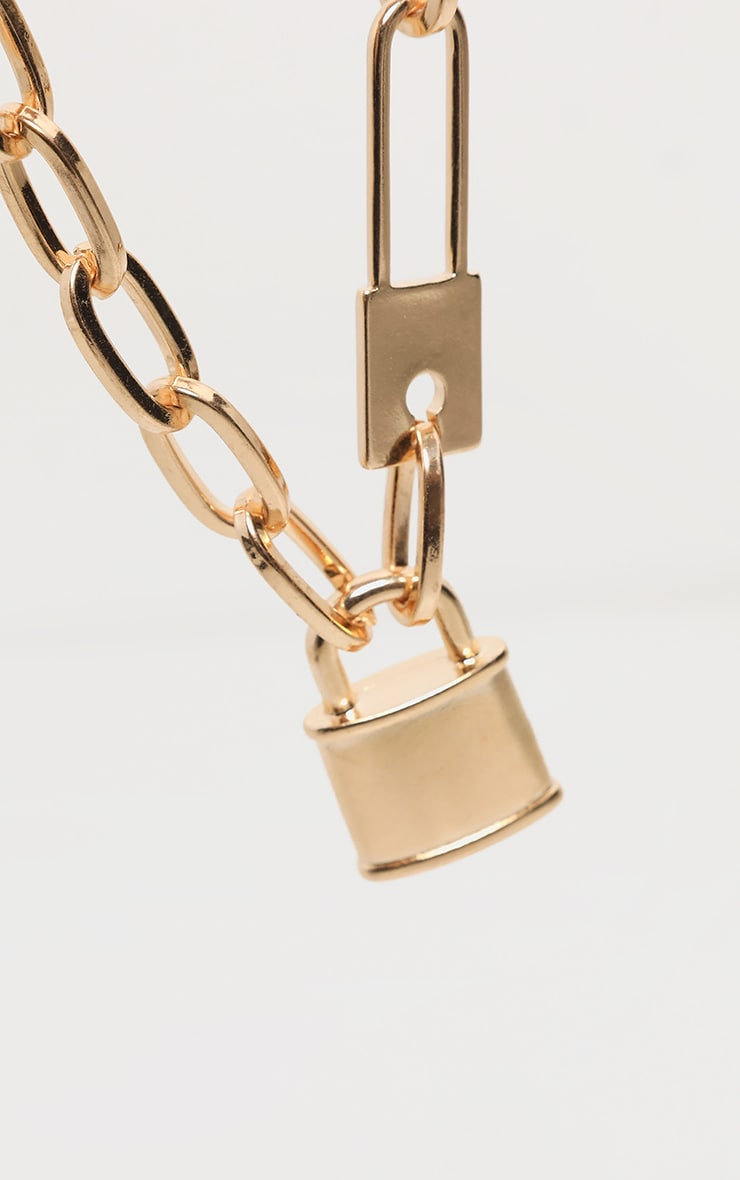Gold Chunky Short Chain Padlock Necklace 4