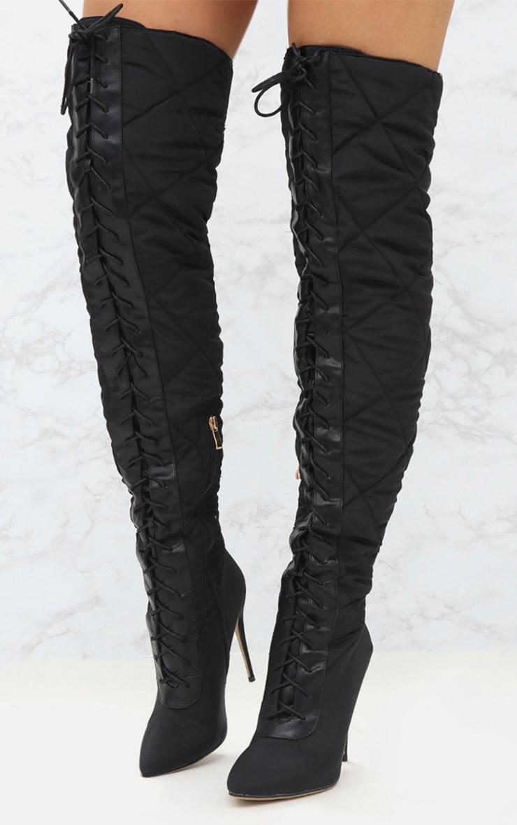 Black Thigh High Puffer Heeled Boots  2