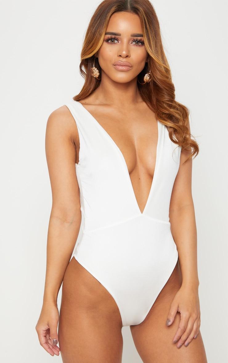 Petite White Plunge Swimsuit 6