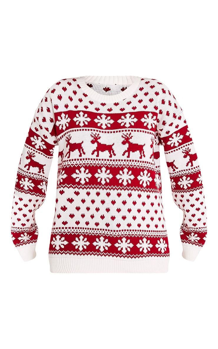 Snowflake/Reindeer White Mix Christmas Jumper 3