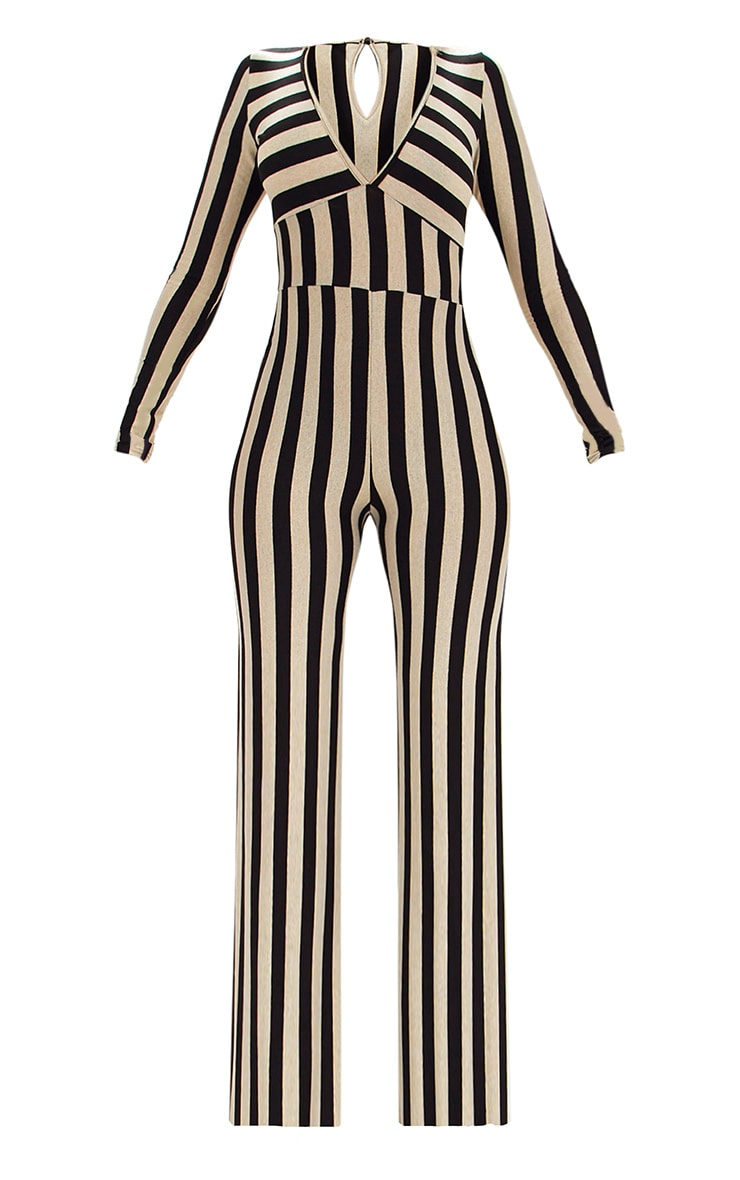 Gold Striped Long Sleeve Plunge Jumpsuit 3
