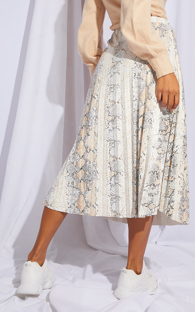 White Snake Faux Leather Pleated Midi Skirt 3