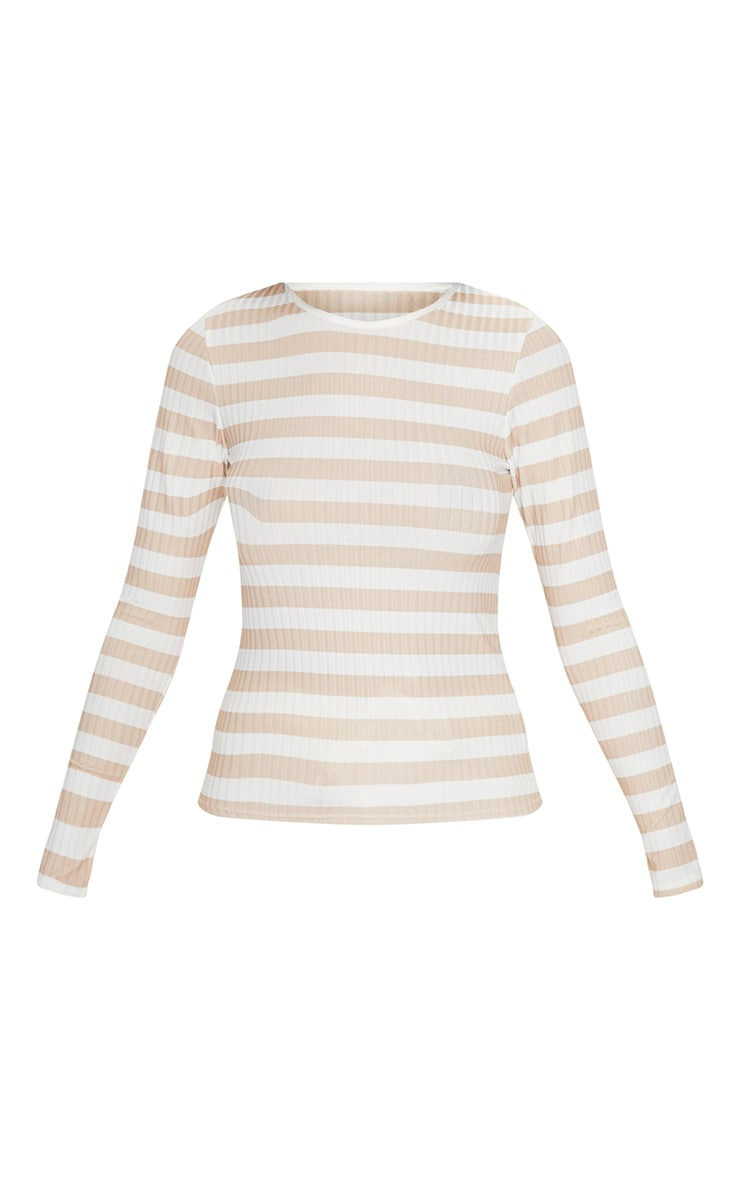 Nude Rib Stripe Long Sleeve Fitted Top     3