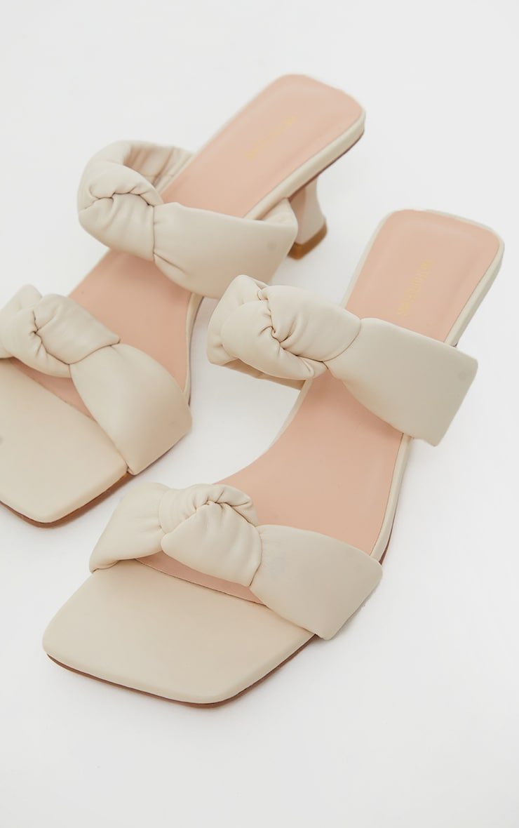 Cream Padded Knotted Twin Strap Low Heel Mules 4