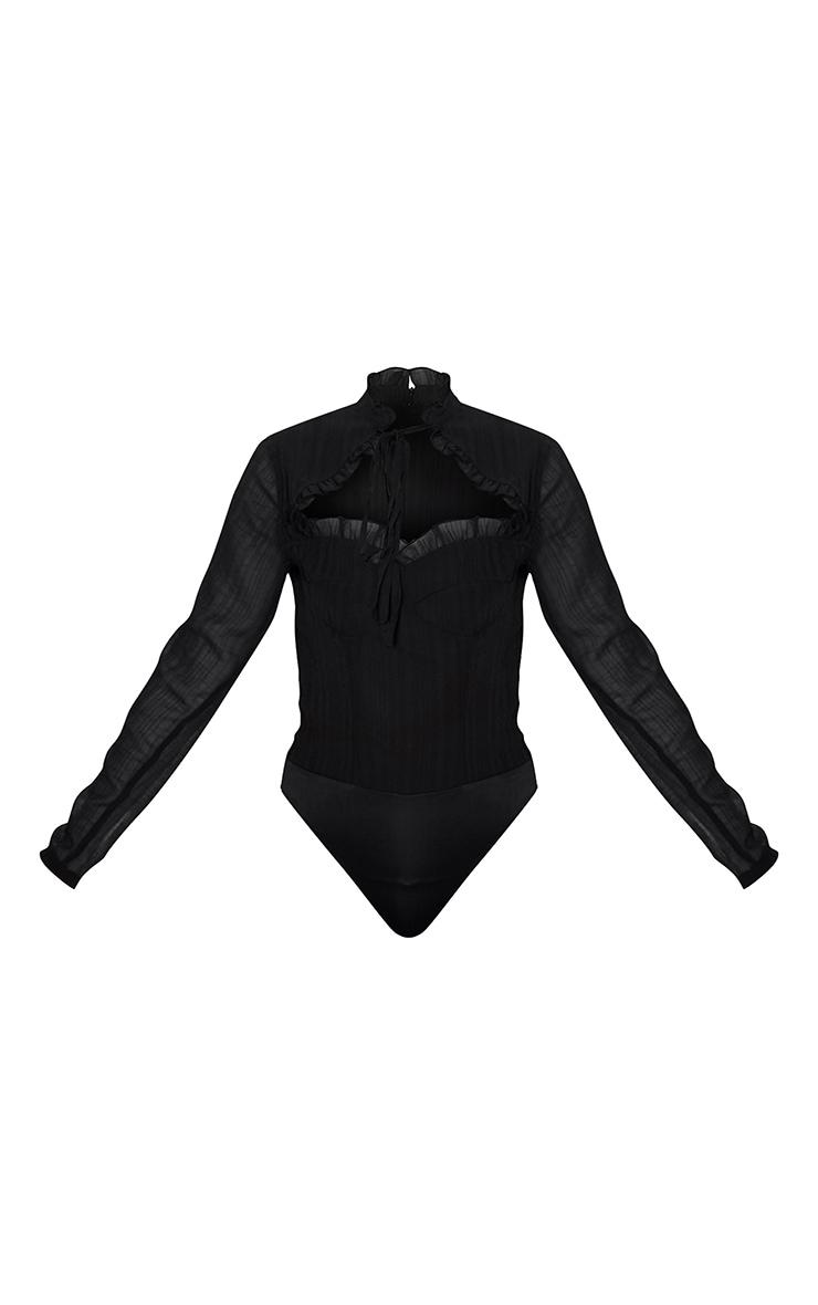 Black Woven Cut Out High Neck Bodysuit 3