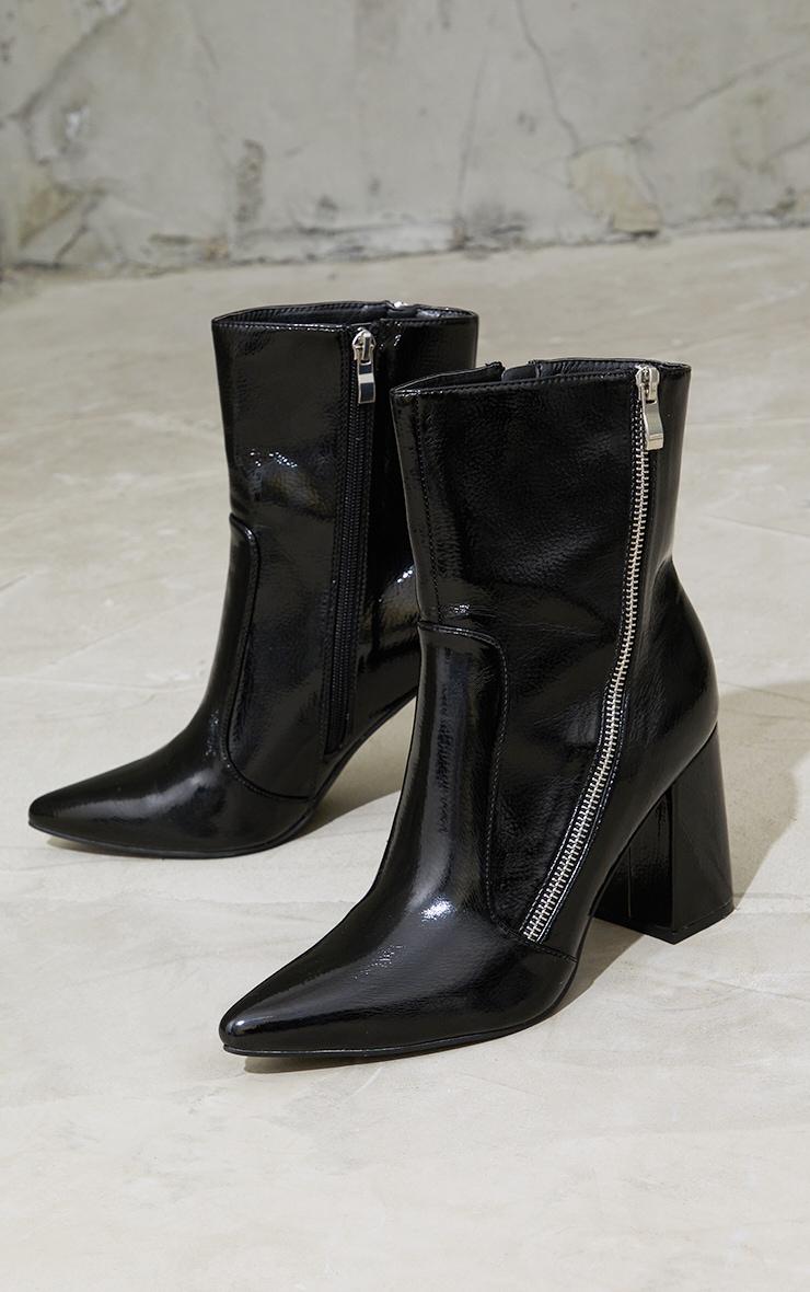 Black Side Zip Mid Point Toe Block Heel Ankle Boots 3