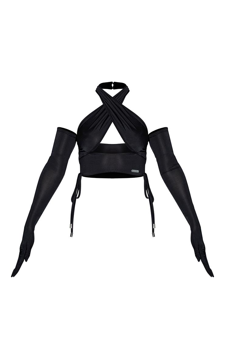 PRETTYLITTLETHING Black Slinky Metal Badge Cross Front Halterneck Glove Detail Crop Top 5