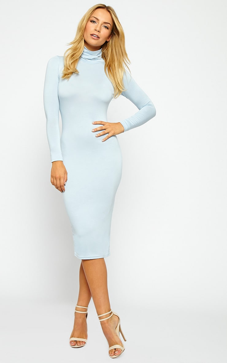 Basic Powder Blue Jersey Roll Neck Midi Dress 1