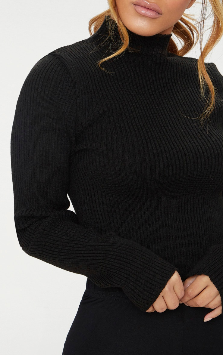 Petite Black High Neck Curve Hem Jumper 5