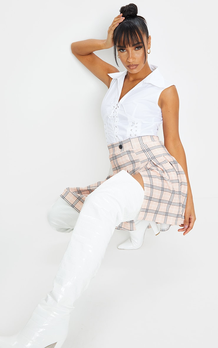 Pink Pleated Check Side Split Tennis Skirt 4