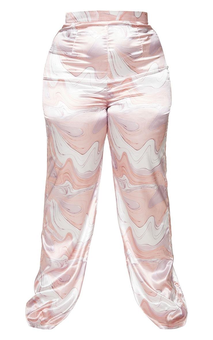 Plus Baby Pink Marble Print Wide Leg Pants 5