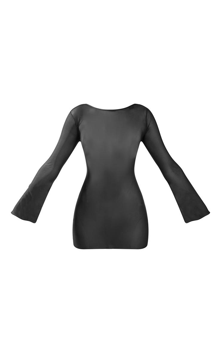 Black  Lace Up Back Mesh Mini Dress 5