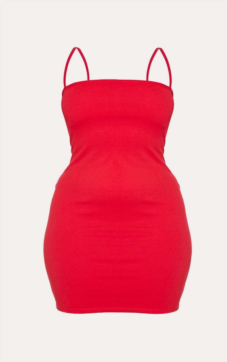 Plus Red Straight Neck Bodycon Dress 6