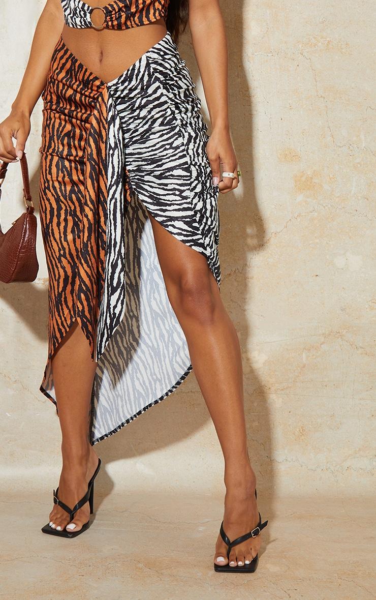 Jupe mi-longue portefeuille multicolore imprimé tigre à côté noué 4