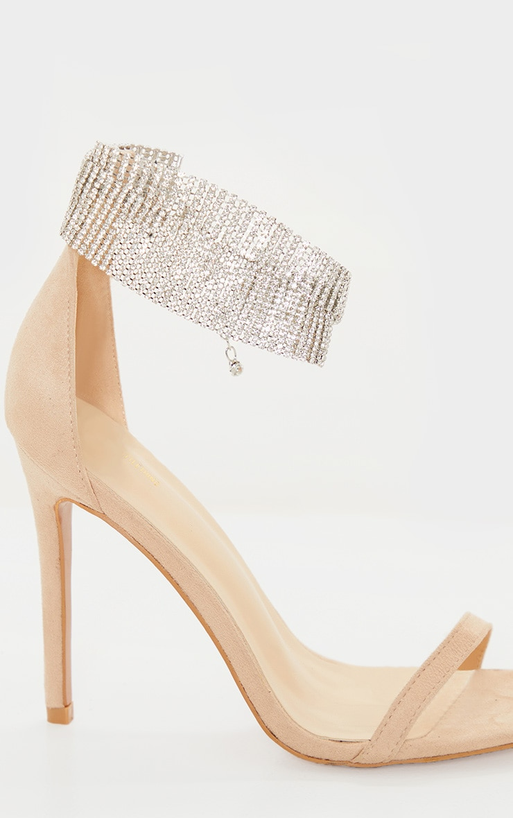 Nude Diamante Cuff Detail Heeled Sandal 4