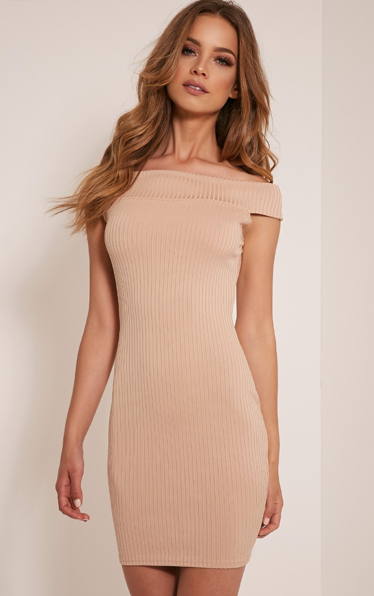 Rylah Camel Bardot Ribbed Bodycon Dress 1