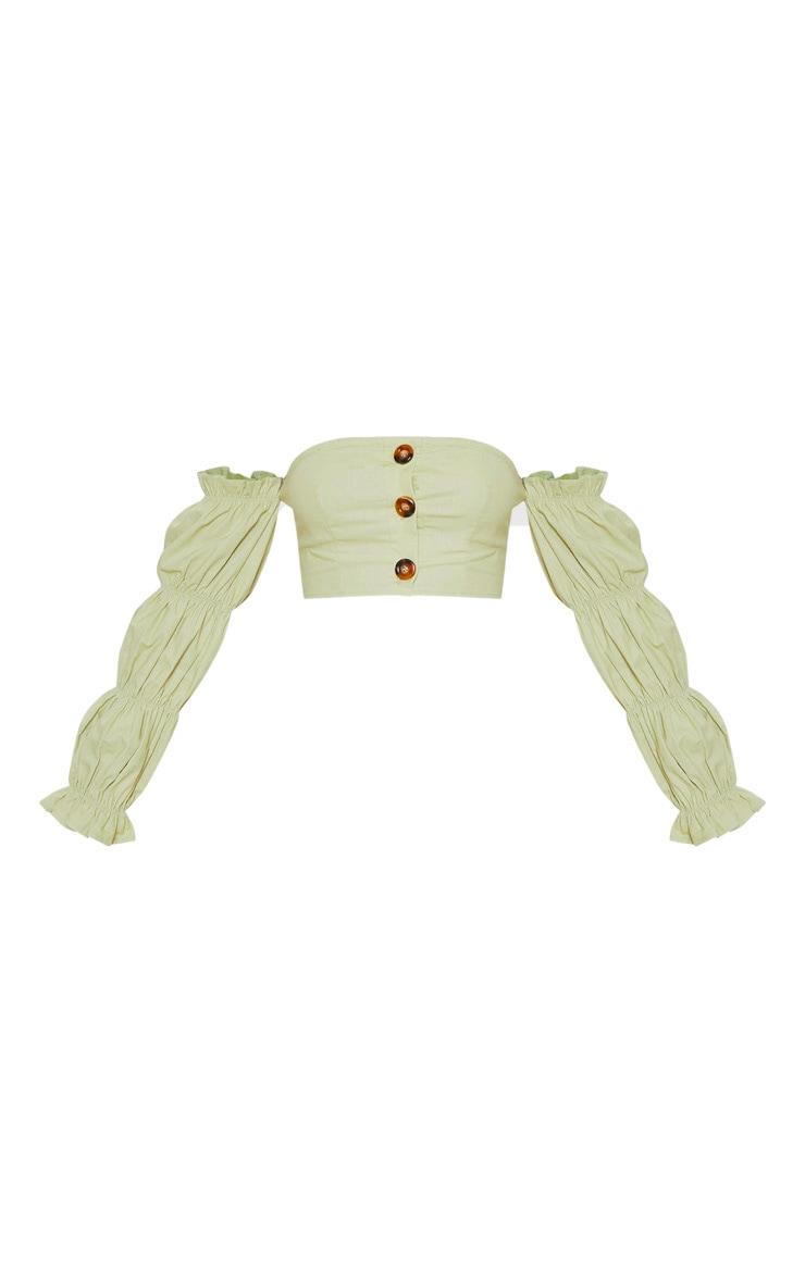 Sage Green Cotton Button Detail Puff Sleeve Shirt 3