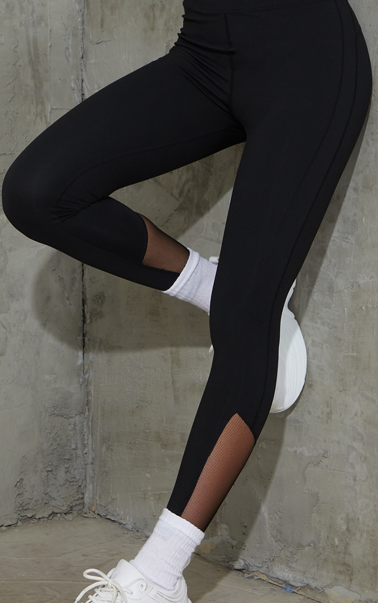 Black Brushed Luxe Mesh Insert Gym Leggings 4
