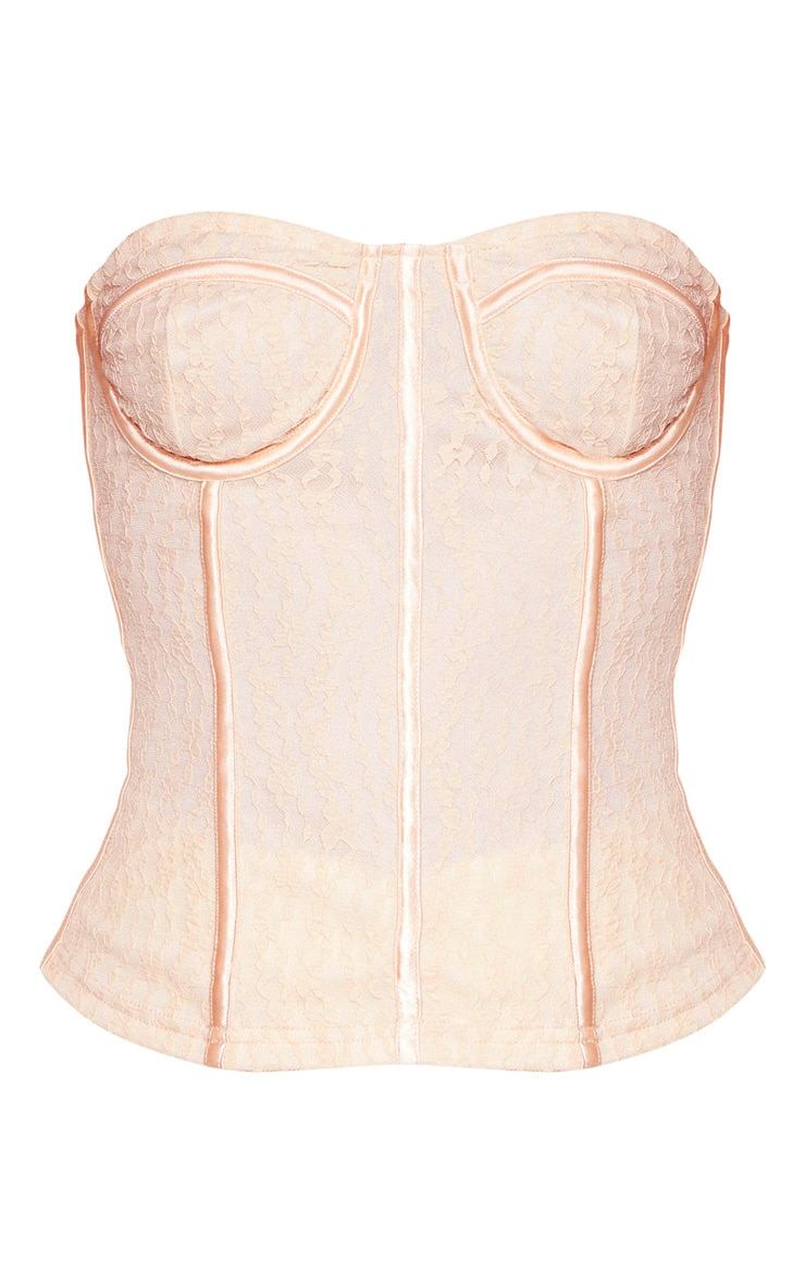 Cream Lace Satin Binding Boned Corset  3