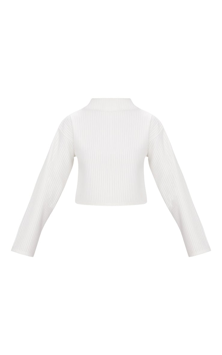Cream Jumbo Rib High Neck Sweater 3