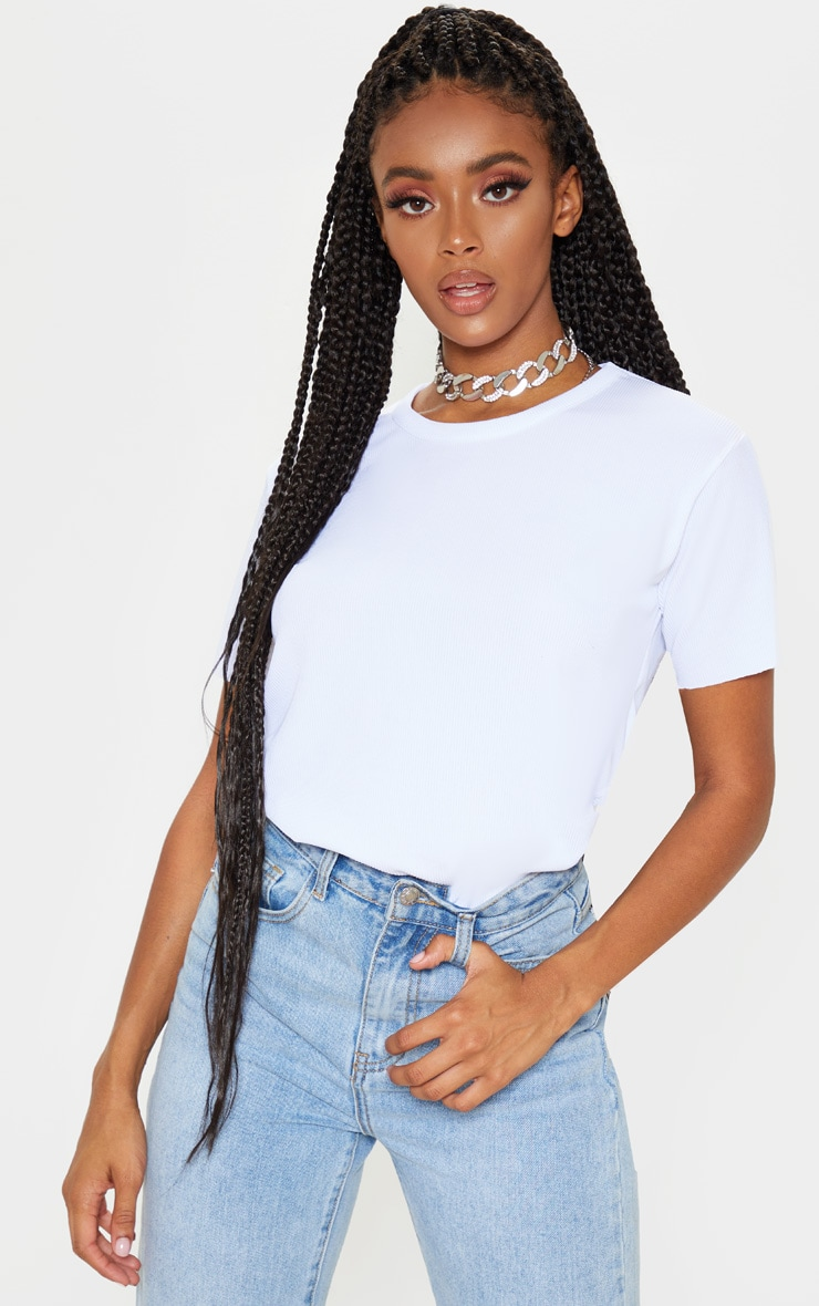 White Rib Raw Hem Longline T Shirt