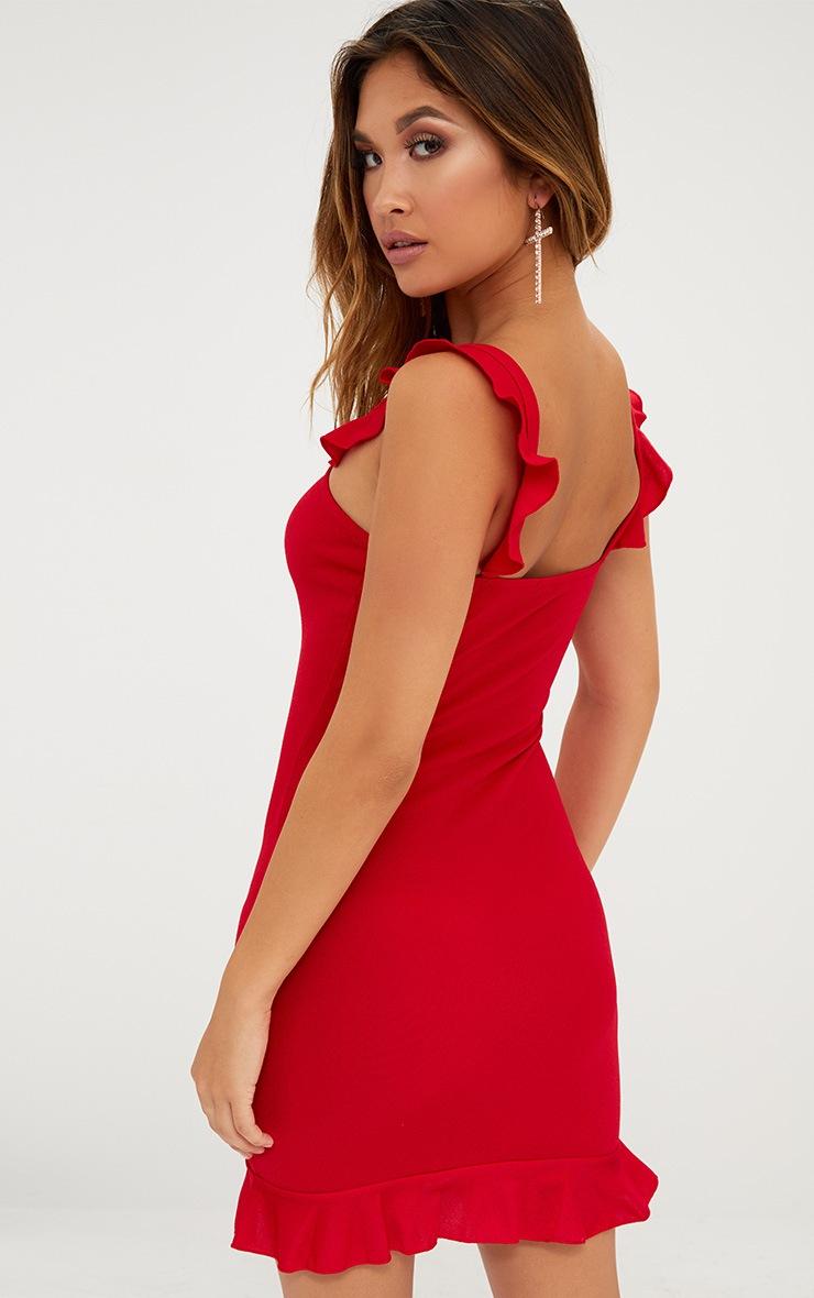 Red Square Neck Frill Strap Bodycon Dress 2