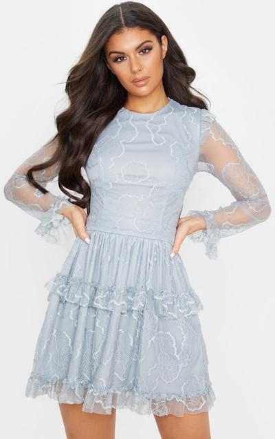 Dusky Blue Lace Strappy Back Frill Detail Skater Dress