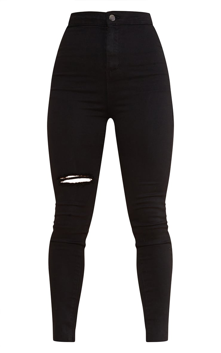 PRETTYLITTLETHING Petite Black Raw Hem Knee Rip Disco Skinny Jean 5