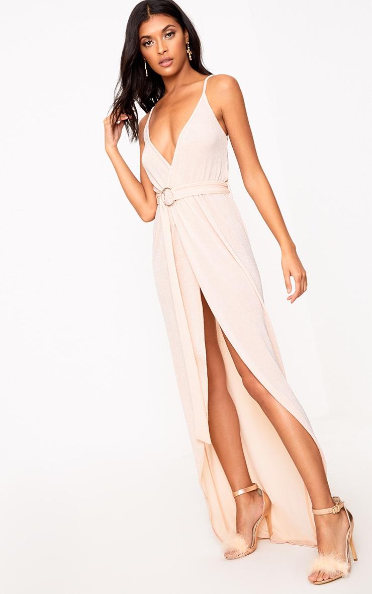 Nude Glitter Lurex Wrap Maxi Dress 1