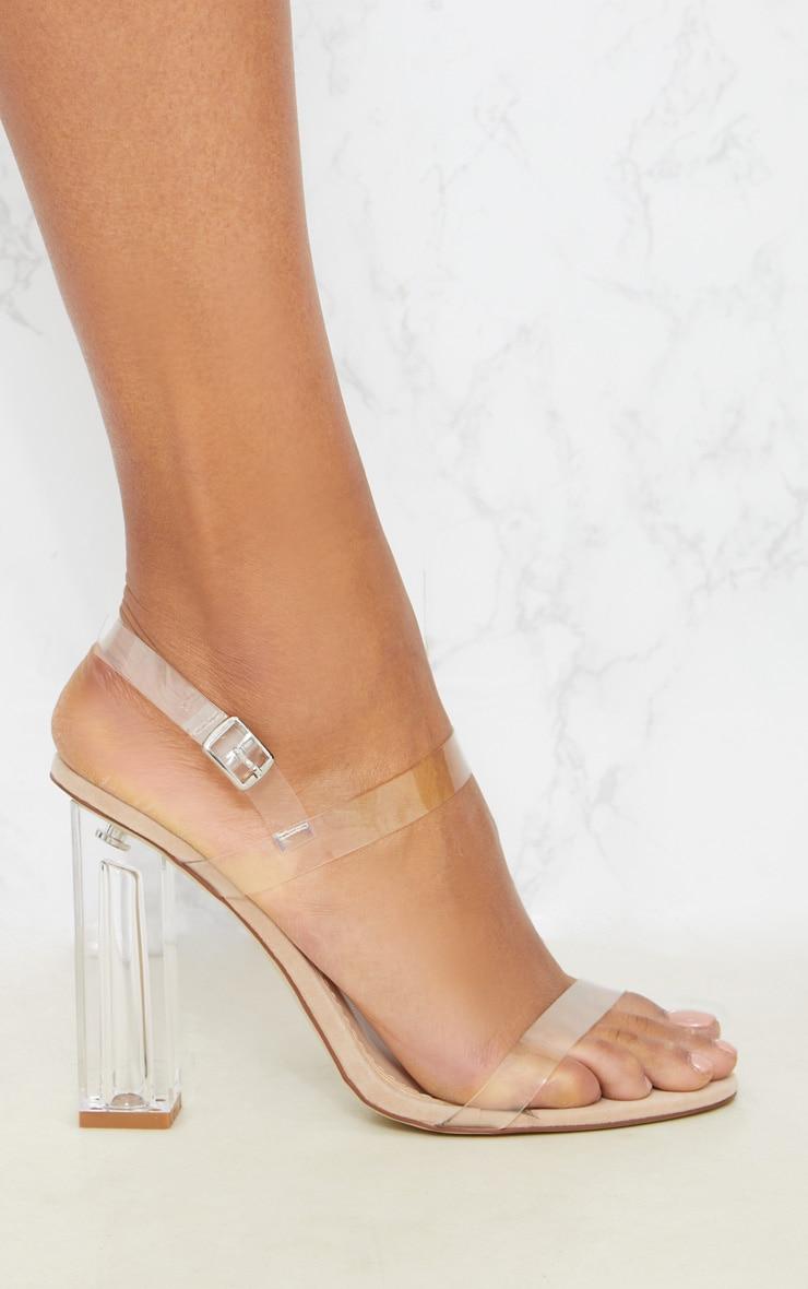Clear Block Heel Strappy Sandal 3