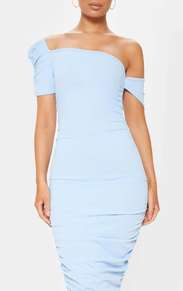 Dusty Blue One Shoulder Ruched Detail Bodycon Dress 5