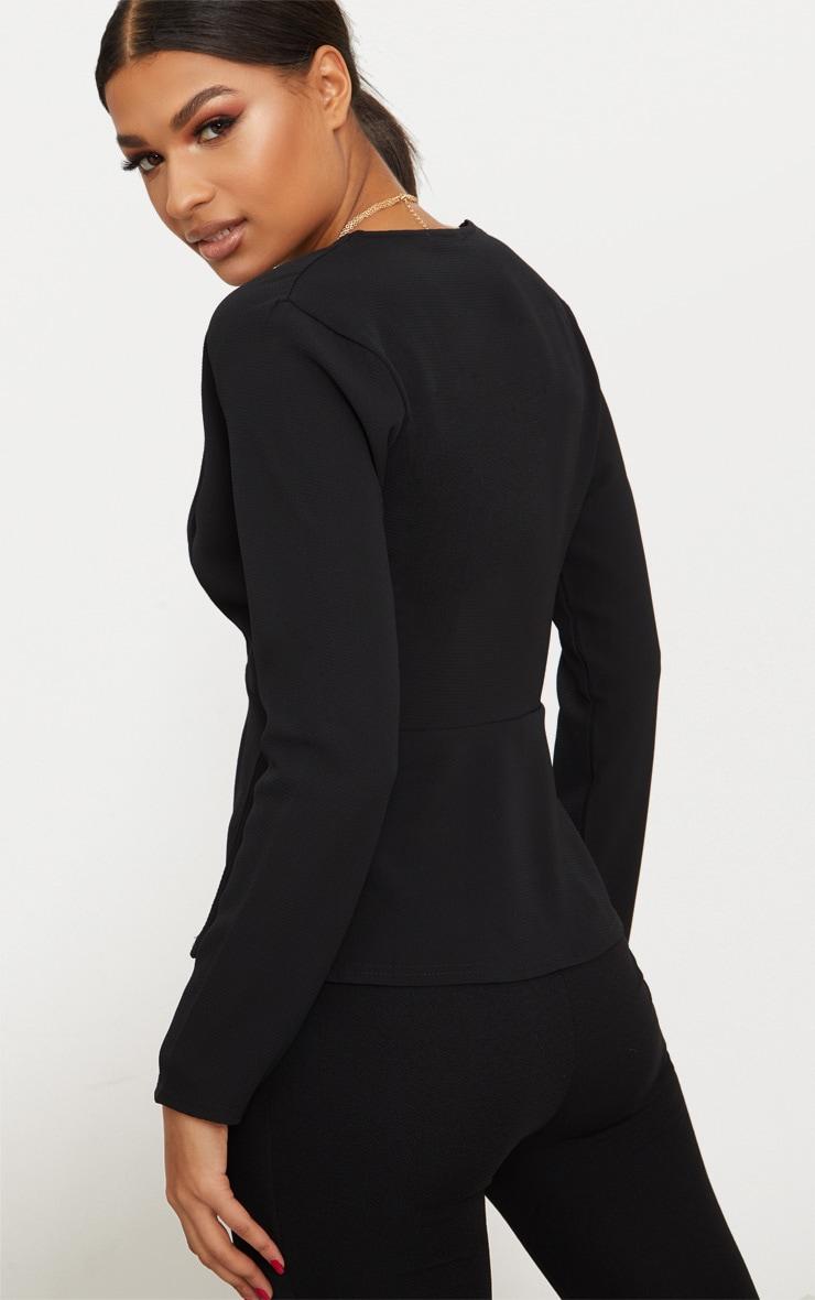 Black Chiffon Plunge Long Sleeve Blouse  2