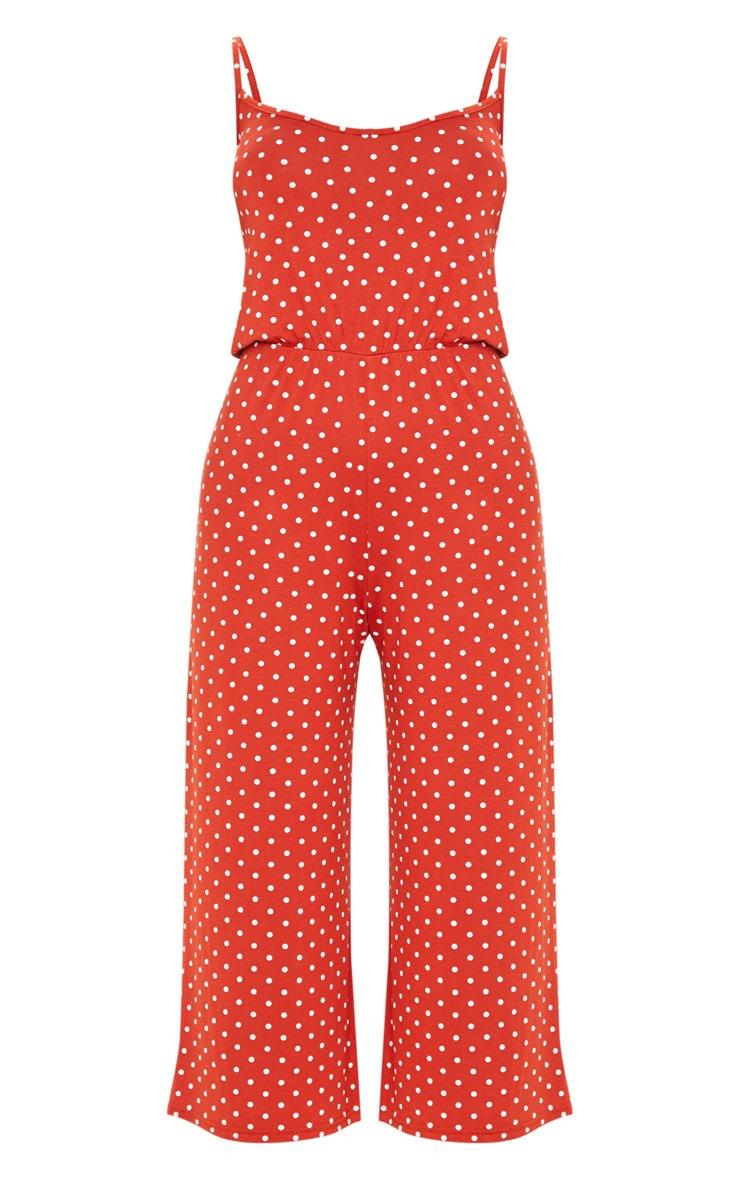 Terracotta Polka Dot Strappy Jersey Culotte Jumpsuit 3