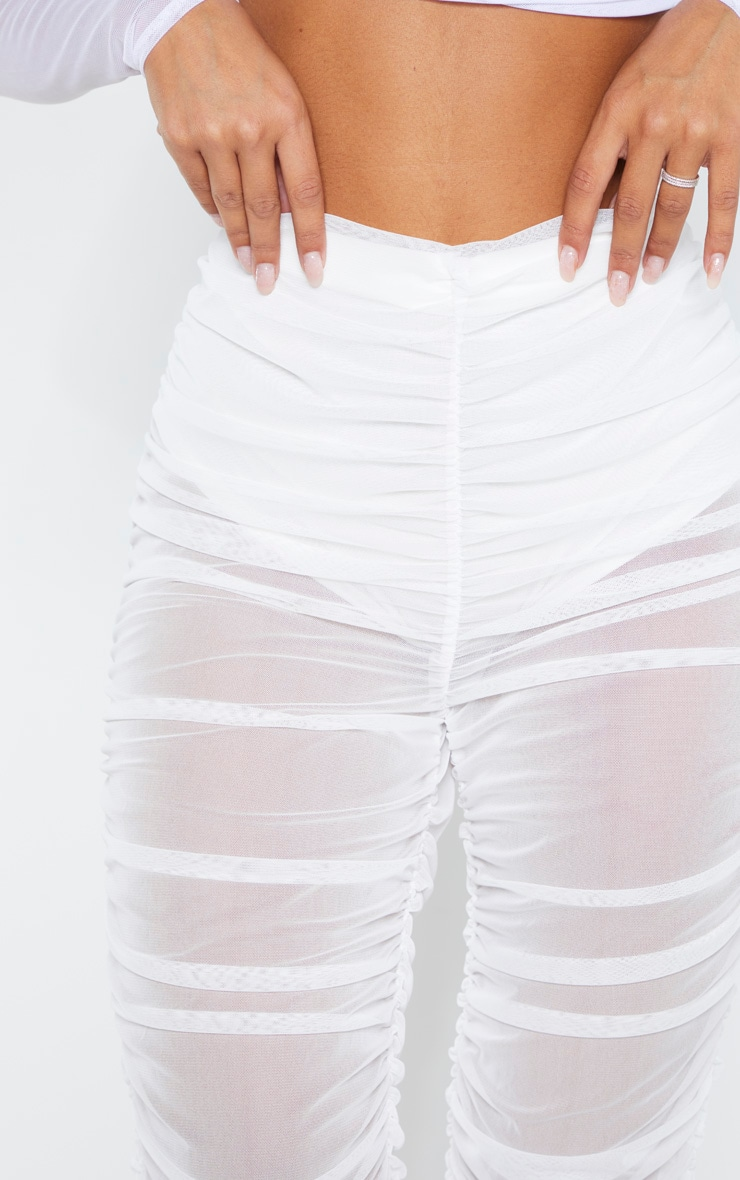 White Ruched Mesh Legging 5