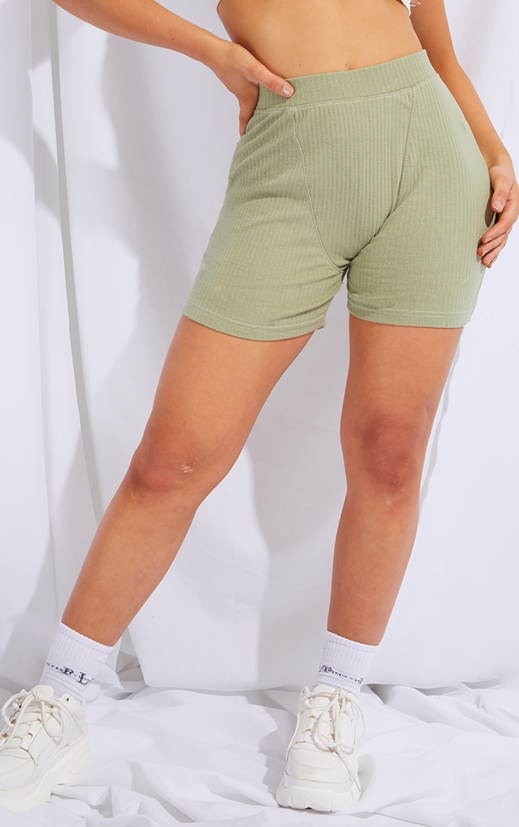 Sage Green Structured Rib Seam Detail Shorts 2