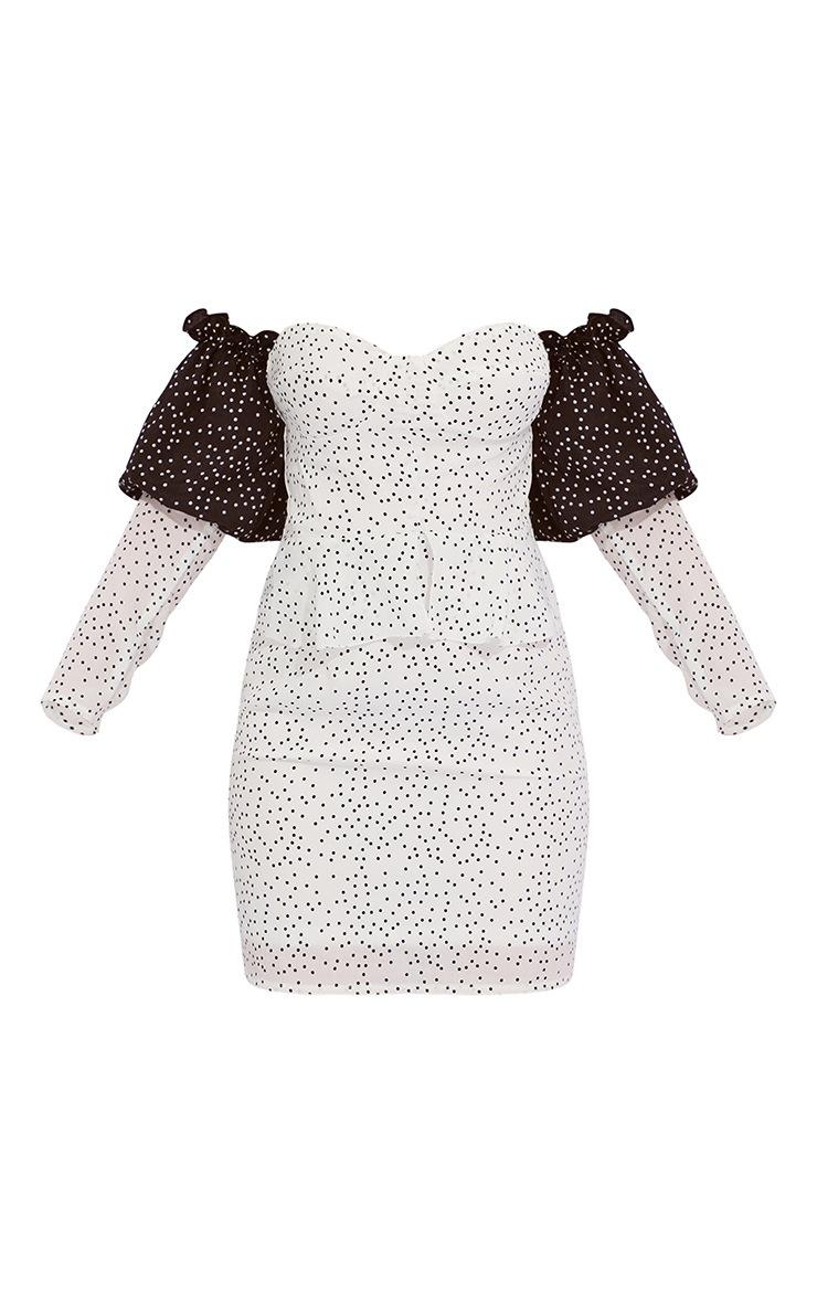 White Polka Dot Bardot Shift Dress 5