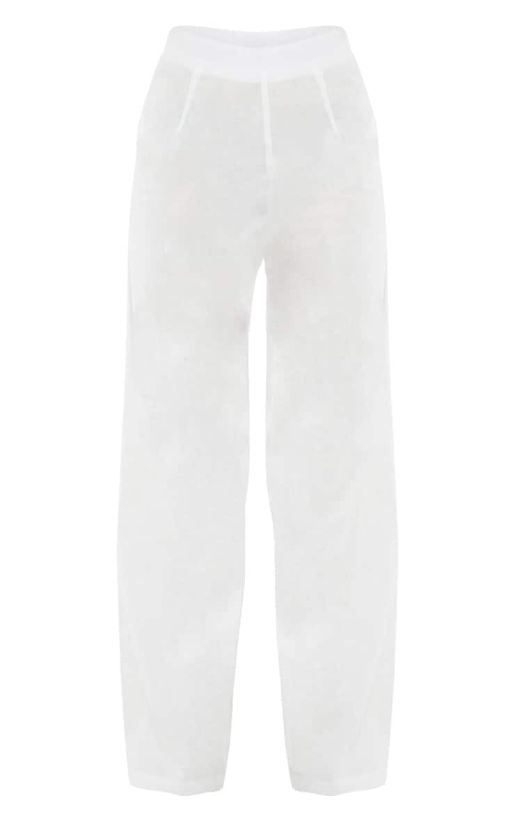 White Woven Wide Leg Pants 5