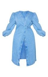 Plus Mid Wash Denim Puff Sleeve Midi Dress 5
