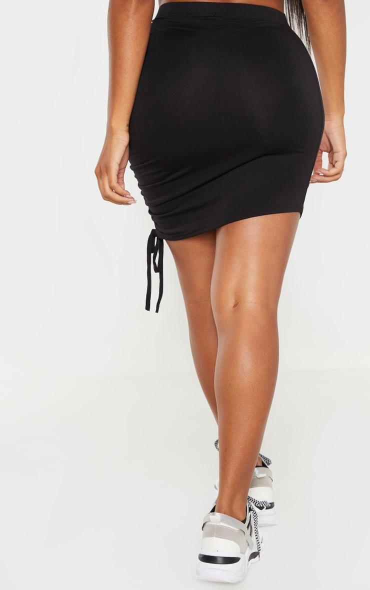Shape - Jupe en jersey noir à côté froncé 4
