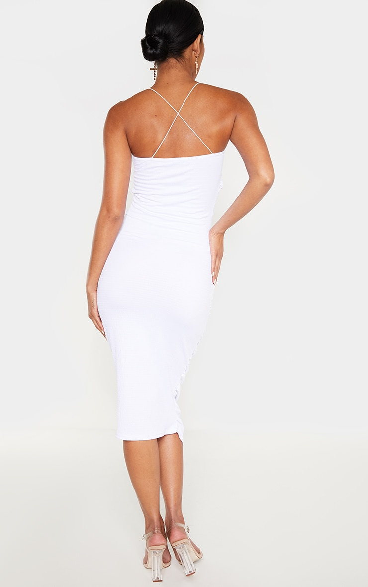 White Crinkle Texture Ruched Cowl Neck Midi Dress 2